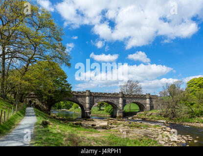 Barden Bridge Aquädukt über den Fluß Wharfe, Strid Wood, in der Nähe von Bolton Abbey, Yorkshire Dales National - Stockfoto