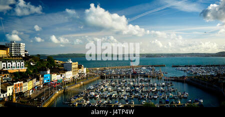 GB - DEVON: Torquay Hafen-Panorama - Stockfoto