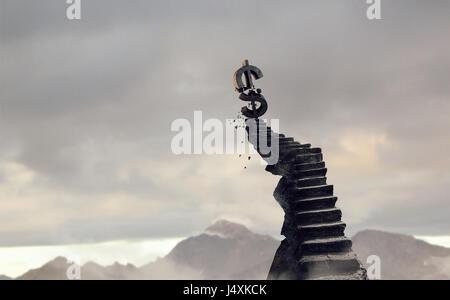 Beton Treppe hinauf und Dollar-Zeichen an der Spitze. Mixed-media - Stockfoto