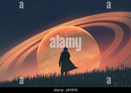 Nachtaufnahme des Mannes auf Feld gegen den Planeten mit Ringen, Illustration, Malerei stehen - Stockfoto