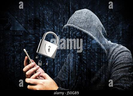 Doppelbelichtung von vermummten Cyber-Kriminalität Hacker mit Handy Internet hacking in den Cyberspace, Online-Daten - Stockfoto