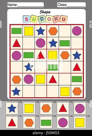 Bild-Sudoku für Kinder, Ausschneiden und einfügen Stockfoto, Bild ...