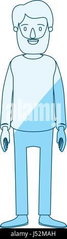blaue Kontur Schattierung Cartoon Ganzkörper Mann mit Bart und Schnurrbart mit Kleidung - Stockfoto