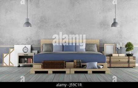 Master-Schlafzimmer im rustikalen Stil mit Palette Doppelbett - 3d rendering - Stockfoto
