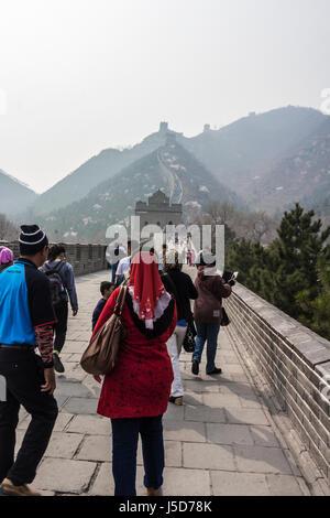 Peking, CHINA - ca. März 2014:-die große Mauer erstreckt sich über mehr als 4000km trennen die China aus der Mongolei. - Stockfoto