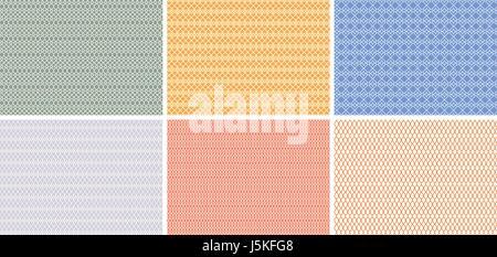 Retro und klassische nahtlose Muster in Pastellfarben wie Net, Herz, Rhomboid und weitere Muster - Stockfoto