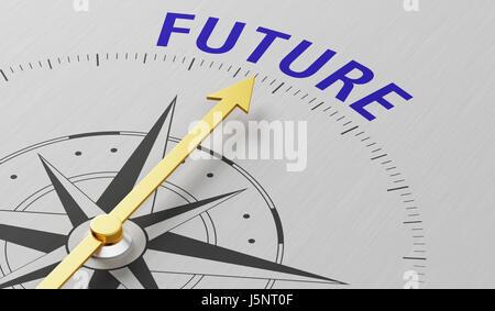 Kompassnadel auf das Wort Zukunft zeigen - Stockfoto