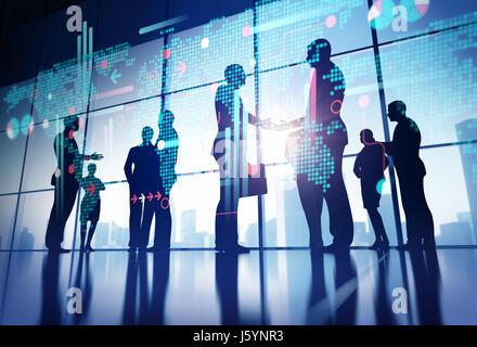 Business Gruppe Konzept Abbildung. Zusammensetzung einer Vektorgrafik und 3D Rendering - Stockfoto