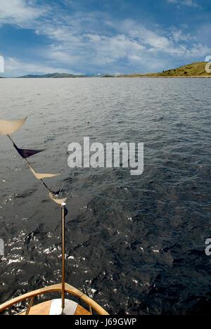 blaue Adria Meer Kroatien Firmament Himmel Salzwasser Meer Ozean Wasser Ruderboot - Stockfoto