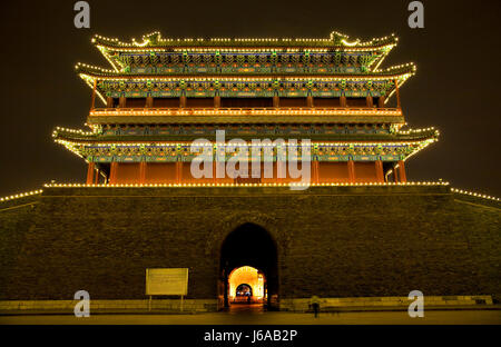 Nacht Nacht China Beijing Temple City Stadt Denkmal Kulturpark Tor - Stockfoto