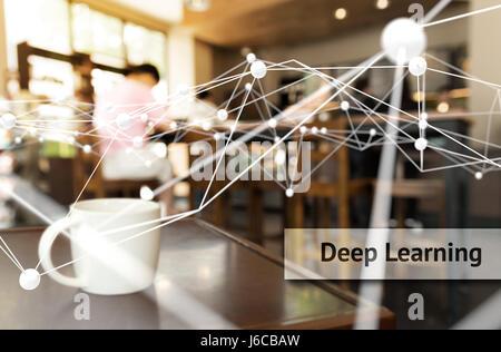 Tief, lernen, neuronale Netze, maschinelles lernen und künstliche Intelligenz Konzept. Atom verbinden und Text mit - Stockfoto