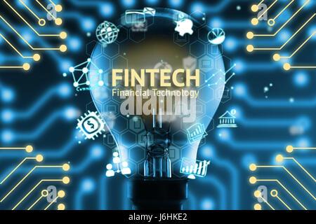 FinTech-Konzept. Ikonen der Finanztechnologie und Bank. Glühbirne, Infografik, Texte und Symbole. Elektrische Schaltungen Grafik mit blauem Hintergrund