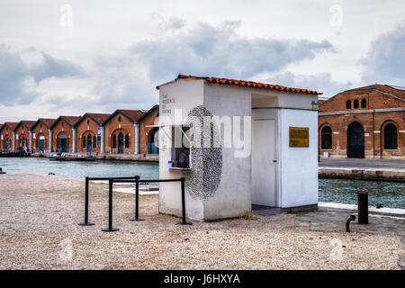 Hafen von Venedig, Castello, Arsenale. 57. Biennale 2017, La Biennale di Venezia.Tunisian Pavillon, die Abwesenheit - Stockfoto