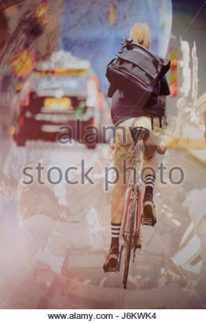 Lackiert-Truck, mit dem Rad zur Arbeit in London - Stockfoto