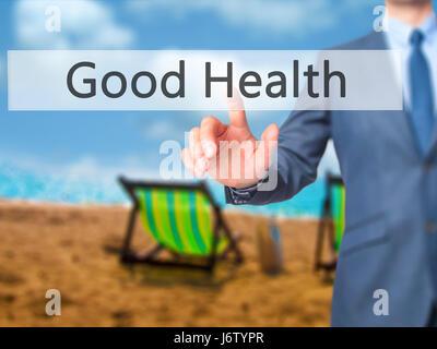 Gute Gesundheit - Geschäftsmann Presse auf dem digitalen Bildschirm. Geschäft, Internet-Konzept. Stock Foto - Stockfoto