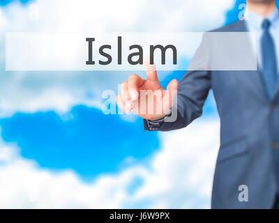 Islam - Geschäftsmann Hand Taste am Touch-Screen-Oberfläche. Wirtschaft, Technologie, Internet-Konzept. Stock Foto - Stockfoto