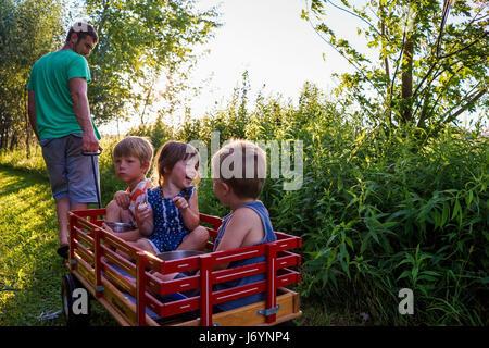 Vater zieht drei Kinder in einem Wagen - Stockfoto