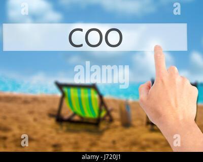 COO - Hand drücken einer Taste auf unscharfen Hintergrund Konzept. Wirtschaft, Technologie, Internet-Konzept. Stock - Stockfoto