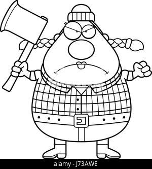 Ein Cartoon Illustration suchen böse Frau Holzfäller. - Stockfoto
