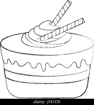 Schwarze Symbol Kuchen Stuck Cartoon Vektor Abbildung Bild