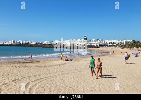 Lanzarote Strand, Playa Las Cucharas, Costa Teguise, Lanzarote, Kanarische Inseln-Europa - Stockfoto