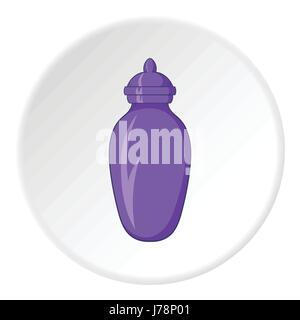 Urne für die Asche-Symbol im Cartoon-Stil auf weißen Kreis Hintergrund isoliert. Tod-Symbol-Vektor-illustration - Stockfoto