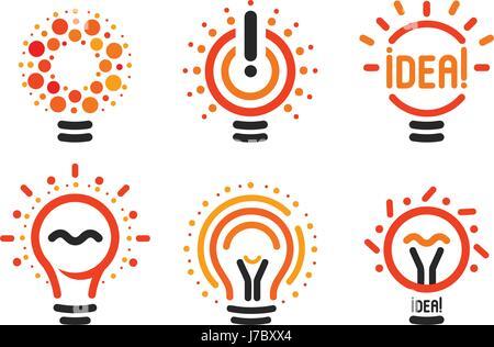 Stilisierte Satz von Vektor Glühbirnen, Sammlung bunte Logos. Neue ...