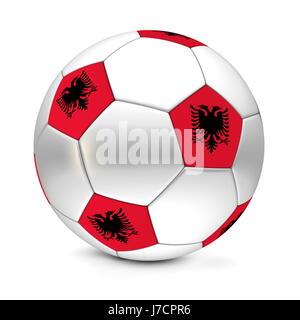 Ball Flagge Fahne Albanien albanische Sport Sport Fußball Fußball Clasic Klassiker - Stockfoto