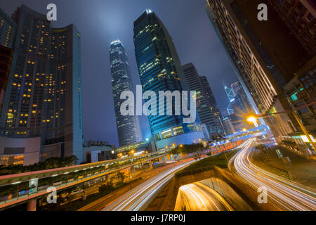 Belebte Straße auf Hong Kong Central area - Stockfoto