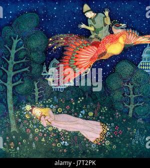 """""""Dort fand er die Prinzessin eingeschlafen und sah, dass ihr Gesicht das Gesicht, die, das er in dem Porträt gesehen hatte"""".   Abbildung aus dem russischen Märchen der Feuervogel.  Aus Edmund Dulac Märchen-Buch: Märchen der verbündeten Nationen veröffentlichte 1916."""