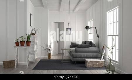 Moderne gemütliche rustikale Wohnzimmer mit Holzverkleidungen an der ...