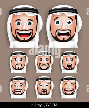 Vektor-Set von realistischen Saudi Arabische Mann Kopf mit unterschiedlichen Gesichtsausdrücken Thobe Avatar tragen. - Stockfoto