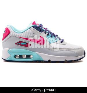 wholesale dealer 11822 2eafc ... Nike Air Max 90 Mesh (GS) Jugend weiße lebendige rosa Copa Platin -  724855