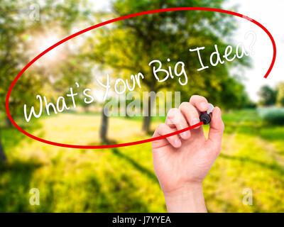 Hand des Menschen schreiben, was Ihr große Idee ist?  mit schwarzen Balken am Bildschirm. Isoliert auf Natur. Wirtschaft, - Stockfoto