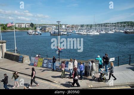 Plymouth, Devon. Die Barbakane. Die Mayflower Schritte. Die Pilgerväter auf den Weg für die Vereinigten Staaten - Stockfoto