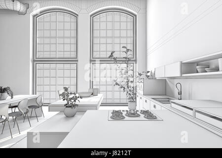 ... Krassen Reinen Weißen Monochromen Küche Interieur Mit Eingebauten  Schränke Und Geräte Offen Zum Essbereich Mit Tisch