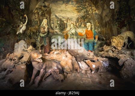 Sacro Monte di Varallo, Piemont, Italien, 23. Mai 2017 - eine biblische Szene Darstellung einer Terrakotta Jesus - Stockfoto