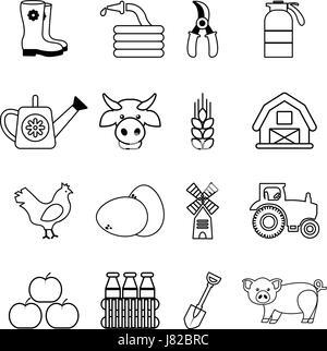 farm traktor symbol leitung outline lineare symbol. Black Bedroom Furniture Sets. Home Design Ideas