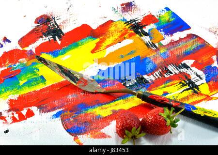 Die Malerei Messer und Erdbeere setzen auf Leinwand - Stockfoto