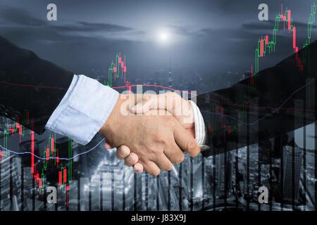 Abkommen oder Abkommen Geschäftskonzept, Handshake doppelte Belichtung, Kooperation oder Partnerschaft Geschäft - Stockfoto