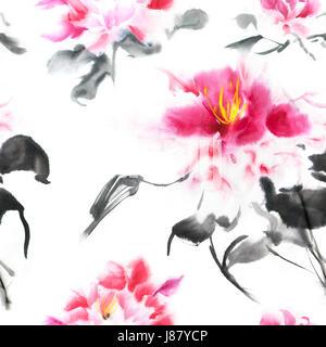 nahtlose muster mit rosa pfingstrosen mit tinte im japanischen stil gemalt wallpaper mit. Black Bedroom Furniture Sets. Home Design Ideas