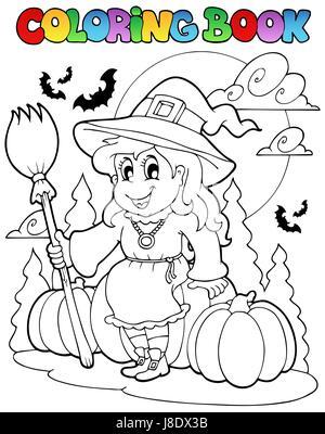 Halloween, Farbe, Oktober, gemalt, Färbung, Herbst, Herbst, Buch ...
