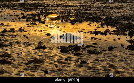 Reflexionen eines niedrigen Sonne in das restliche Wasser bei Ebbe am Strand in Großbritannien. - Stockfoto