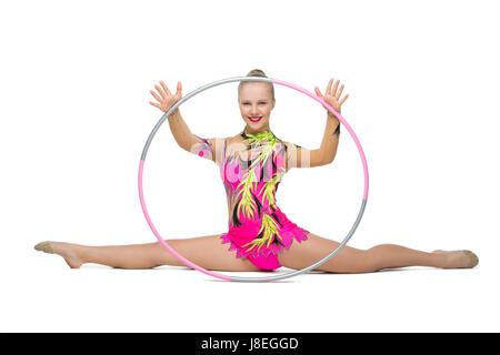 Gymnastische Ubungen Mit Hula Hoop Girl Fuhrt Circus Performer In
