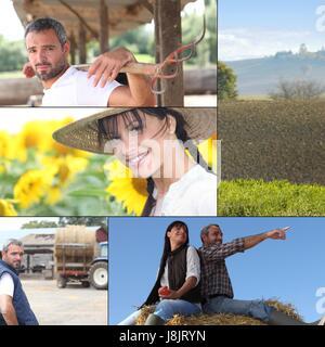 Frau, Werkzeuge, landwirtschaftliche, groß, große, riesige, extreme, mächtig, imposant, - Stockfoto