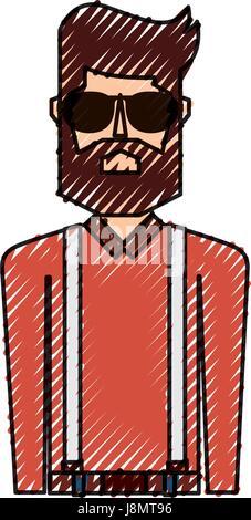Scribble Oberkörper Mann - Stockfoto