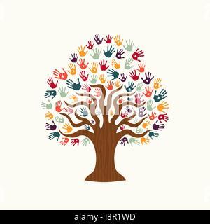 Baum Händen der bunte vielfältige Gemeinschaft. Illustration für soziale Hilfe Konzept, Nächstenliebe oder Gruppe - Stockfoto