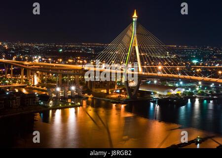 Verkehr, Transport, Brücke, Bangkok, Autobahn, Autobahn, Dämmerung, Straße, - Stockfoto