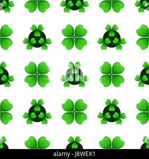 Zweige der grünen Klee mit vier Blättern und drei blätterte Shamrock. Pflanzen gegen Augenringe. St. Patricks Day - Stockfoto