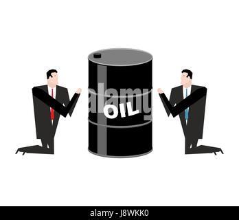 Kaufmann für Öl zu beten. Gebet Barrel Erdöl. Betet für Kraftstoff - Stockfoto